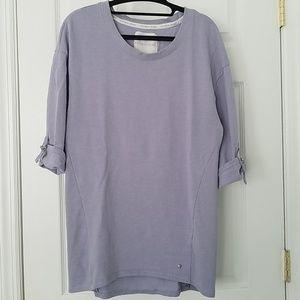 Tunic-length Sweatshirt with Rolled Sleeves